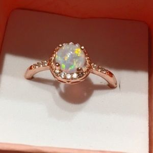 Jewelry - {Sz 9} Round Fire Opal & CZ Rose Gold Ring